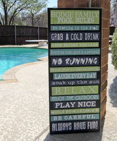 Pool Rules Subway Art Signage 15x36 Custom by RumpelstreetBoutique
