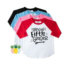 907afe0f Official Fifth Grader Back to School Shirt - 5th Grade Shirt - First Day of  5th - Gift for Fifth Grader - Fifth Grade Raglan - Year Five Tee