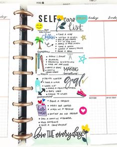 Self care checklist for planners. Blog Planner, Planner Layout, Planner Pages, Planner Stickers, Planner Ideas, Project Life Planner, Filofax, Mini Happy Planner, Bullet Journal