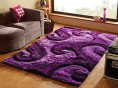 Beautiful Shag Purple Area Rug For Girls Room