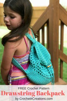 Drawstring Backpack Crochet Pattern - Crochet it Creations