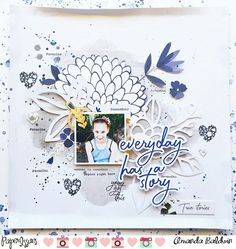 @paperissues #mixitupmonday challenge : Everyday Has A Story layout by Amanda Baldwin featuring Pinkfresh Studio Indigo Hills collection