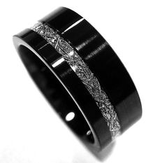 Black Matching Bands Set, Tungsten Wedding Bands, Meteorite Inlay Rings 7mm 9mm  #Tungsten #Band