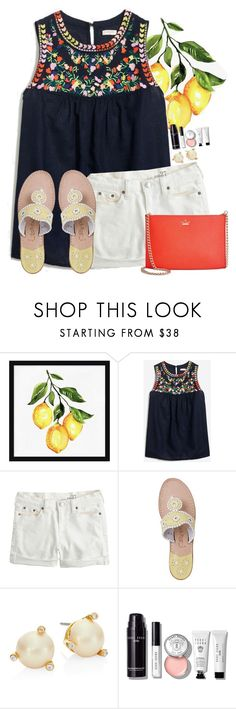 """""""~be a fruit loop in a world of cheerios~"""" by flroasburn on Polyvore featuring Pottery Barn, J.Crew, Jack Rogers, Kate Spade and Bobbi Brown Cosmetics"""