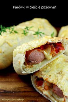 Parówki w cieście pizzowym (Sausages wrapped in Pizza Dough - recipe in Polish)