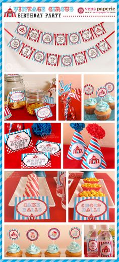 Vintage Blue Carnival Circus  Birthday Party por venspaperie, $35,00