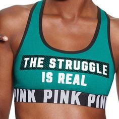 VS Pink L logo bra top VS Pink L logo the struggle is real bra top. trade. ❌New in package❌❌PRICE FIRM❌Free shipping on Ⓜ️. PINK Victoria's Secret Tops Tank Tops