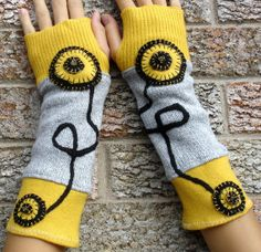 OOAK Upcycled fingerless gloves, arm warmers, txting gloves, recycled sweaters - black, light grey and yellow on Wanelo