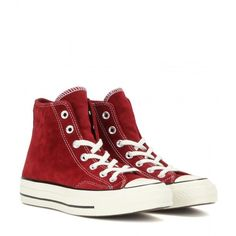 Converse Chuck Taylor Suede High-Top Sneakers ($91) ❤ liked on Polyvore featuring shoes, sneakers, converse, red, suede sneakers, high top shoes, converse shoes, red high top sneakers and converse trainers