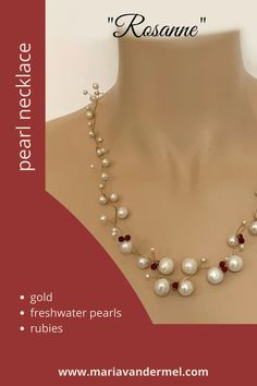 Pearl necklace made of gold, big pearls and red rubies. Contemporary red jewelry, handmade by Maria van der Mel. #pearlnecklace #bigpearls #redjewely #rubies #bruidssieraden #parelcollier #parelketting Red Jewelry, Modern Design, Pearl Necklace, Pearls, Contemporary, Handmade, String Of Pearls, Hand Made, Contemporary Design