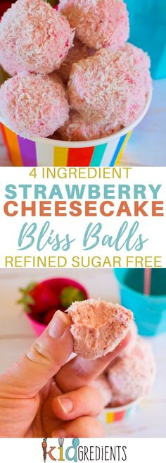 4 ingredient strawberry cheesecake bliss balls! Yummy, easy to make recipe that is kid friendly and freezer friendly! #recipe #cheesecake #strawberry #blissballs via @kidgredients