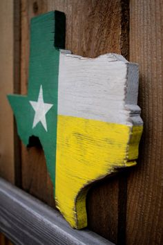 Texas cut out of wood with Baylor colors