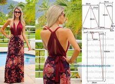Maxi dress pattern with open back Diy Clothing, Sewing Clothes, Clothing Patterns, Dress Patterns, Sewing Patterns, Dress Sewing, Diy Couture Top, Diy Kleidung, Pattern Cutting