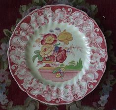 Vintage Red Transferware Polychrome Plate Royal Doulton Pomeroy Urn with Flowers