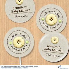 Cute as a Button Baby Shower Party Editable PDF Instant Download for stickers, tags, buttons, cupcake toppers