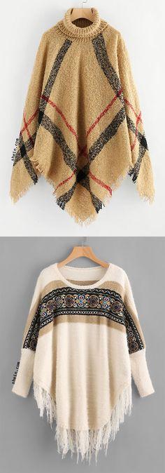 Fringe Ponchos Sweater Knit Fashion, Boho Fashion, Vintage Fashion, Fall Outfits, Cute Outfits, Girls Sweaters, Cardigans, Mode Hijab, Autumn Winter Fashion