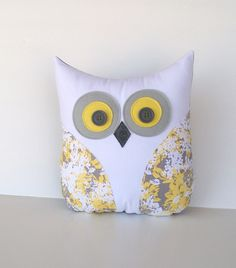 grey and yellow nursery, yellow grey pillow, decorative owl pillow, home decor, mothers day gift by whimsy sweet whimsy. $34.00, via Etsy.