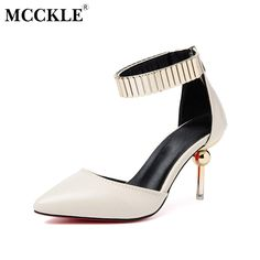 4e3161d3c167 MCCKLE Women Shoes 2017 Fashion Woman High Heels Pointed Toe Zipper  Sequined Ladies Party Office Pumps