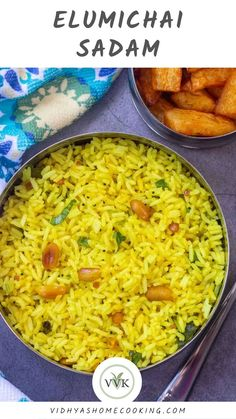 South Indian special lemon rice/elumichai sadam recipe! A delicious variety rice recipe made with lemon juice, turmeric, and minimal spices.