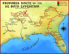 Proposed Route of the Hernando De Soto Expedition, From Charles Hudson map of Wikipedia Rio Grande, Arkansas, New Spain, Florida, Conquistador, Gulf Of Mexico, Geography, American History, State Parks