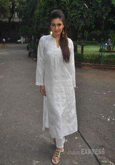Raveena Tandon was lovely in a white chicken churridar suit at a press meet in…q r quiz Kurti Neck Designs, Kurta Designs Women, Indian Attire, Indian Wear, Indian Style, Indian Dresses, Indian Outfits, Indian Clothes, White Fashion