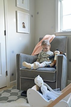 The Luca Glider in a modern pink and grey girls room | 100 Layer Cake