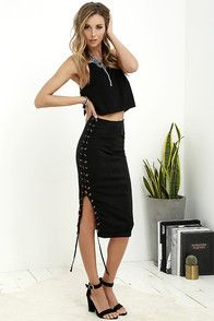 Join in on all the fun and on-trend style of the Come Together Black Suede Lace-Up Skirt! Lightweight, vegan suede midi skirt has a high-waisted fit, darting, and lace-up accent (with silver grommets) that travels down the right side. Hidden back zipper with clasp. #CuteDresses #TrendyTops, #FashionShoes #JuniorsClothing