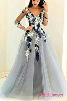 Gray organza V-neck long sleeves see-through handmade flowers A-line long prom dresses,formal dresses