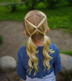 Another version of this pigtail style I made this summer! Little Girl Hairstyles Pigtail style summer version Girls Hairdos, Baby Girl Hairstyles, Best Wedding Hairstyles, Braided Hairstyles, Cool Hairstyles, Toddler Hairstyles, 1980s Hairstyles, Easy Little Girl Hairstyles, Night Hairstyles