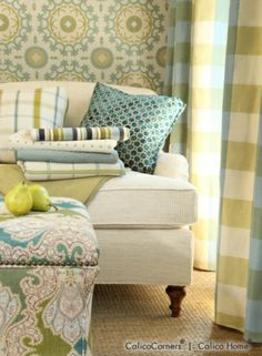 Robert Allen Fabric Collection - aqua and green, so great together.  I'm in love with the fabric on the throw pillow!