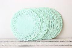 "Paper Doilies Mint Green 4""- French Lace Doilies - Mint Wedding Decoration, Vintage Wedding, Lace Doilies, Bridal Showers, Baby Shower"