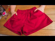 Como Fazer Short, Pants Tutorial, Fashion Design Sketches, Chor, Sewing Patterns, Casual Shorts, Gym Shorts Womens, Short Dresses, Crochet