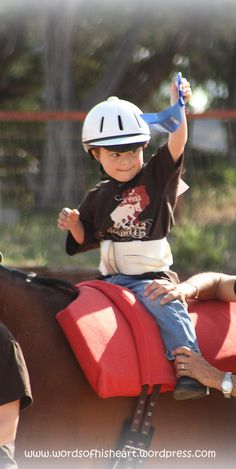 My son, Noah's first rodeo, and a blue ribbon winner at that.  At age 5, his Down syndrome opens a lot of doors for him.  He's right at home on his hippotherapy horse here, fresh from his first win.