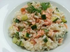 Creamy risotto with smoked salmon and zucchini - Creamy risotto with smoked salmon and zucchini - Diner Recipes, Dutch Recipes, Italian Recipes, Polenta, Zucchini, Quinoa, Couscous Recipes, Happy Foods, Dinner Is Served