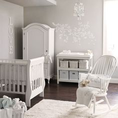 Little White Company > Elephant Nursery, all grey and white #babynurserydecor