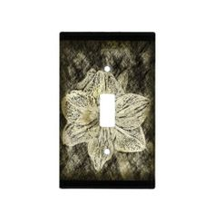 Old Time Sketched Amaryllis on Black Switch Plate Cover by Florals by Fred #zazzle #photogift #gift