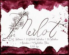 Merlot Watercolor Collection -Digital Texture Graphics, Website Blogging Branding, Design, Stationary, DIY Projects, Burgundy Illustrations