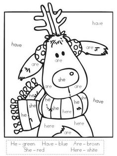 Reindeer Color by Sight Word