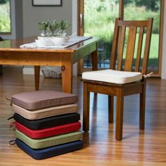 Dining chair pads - If your dining room chairs have seen better days, maybe it's time to give them a face-lift, or rather, a seat lift. Dining Room Chair Covers, Dining Room Chair Cushions, Wooden Dining Room Chairs, Patio Furniture Covers, Leather Dining Chairs, Living Room Chairs, Dining Furniture, Modern Furniture, Furniture Design