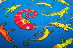 Baumwolljersey Kinder Jersey Stoff Gecko Chamäleon blau bunt J.Swafing Kairo