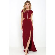 Conversation Piece Wine Red Backless Maxi Dress ($68) ❤ liked on Polyvore featuring dresses, gowns, red, short sleeve maxi dress, white evening gowns, red evening gowns, red maxi skirt and white evening dresses