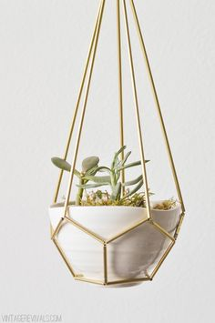 DIY Leather, cord, or brass geometric teardrop Hanging Planter (himmeli)