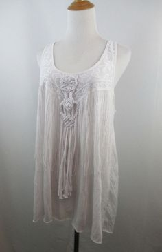 A51 FREE PEOPLE WOMENS SZ S/M WHITE LACE FRINGE TWISTED DETAIL FRONT SHIRT TOP #FreePeople #Top #CasualDressyCareer