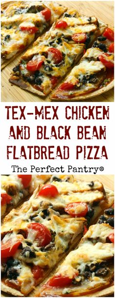 Tex-Mex chicken and black bean flatbread pizza, low in carbs, high in flavor, and completely kid-friendly.