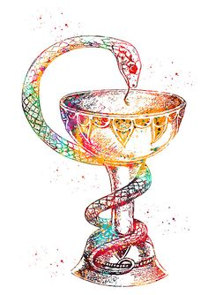Caduceus Art Bowl of Hygieia by Erzebet S Colourful Wallpaper Iphone, Aesthetic Pastel Wallpaper, Aesthetic Lockscreens, Pagan Art, Medical Art, Homescreen Wallpaper, Nursing Notes, Glitter Wallpaper, Science Art