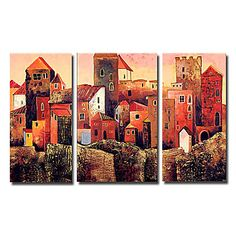 Charming City Buildings Oil Painting-Set of 3 Modern Oil Painting, Modern Paintings, Oil Paint Set, Paul Klee, City Buildings, Landscape Paintings, Kandinsky, Hand Painted, Canvas