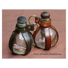 leather and glass globe bottle holster by DocStonesTinkering on Etsy Steampunk Costume, Steampunk Fashion, Steampunk Accessoires, Medieval Clothing, Fantasy Weapons, Leather Projects, Fantasy Jewelry, Glass Globe, Character Outfits