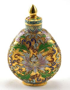 Vintage Chinese Cloisonne Copper Metal Snuff Bottle Gold Color Handmade Floral