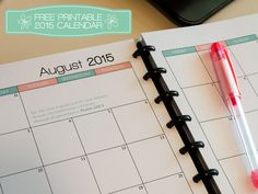 Free printable 2015 calendar for A5 Planner - Discbound system