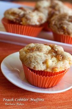 Peach Cobbler Muffins from @Barbara Bakes {Barbara Schieving}